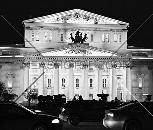 an exterior black and white shot of the Bolshoi Theater, Russia