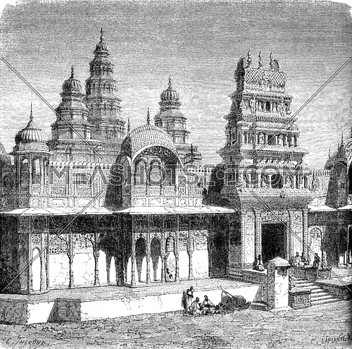 Rama temple at Pushkar, vintage engraved illustration. Le Tour du Monde, Travel Journal, (1872).