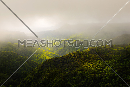 Beautiful panorama of Black River Gorges park and jungle around it, Mauritius.