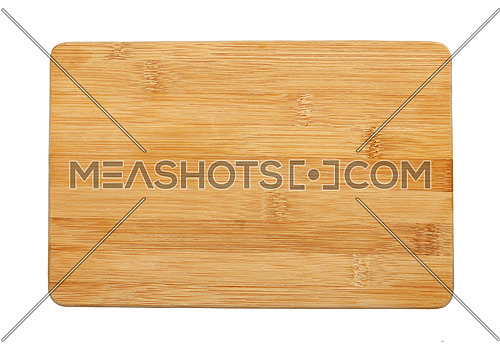 Close up of one small rectangular shaped brown, bamboo wood cutting board isolated on white background