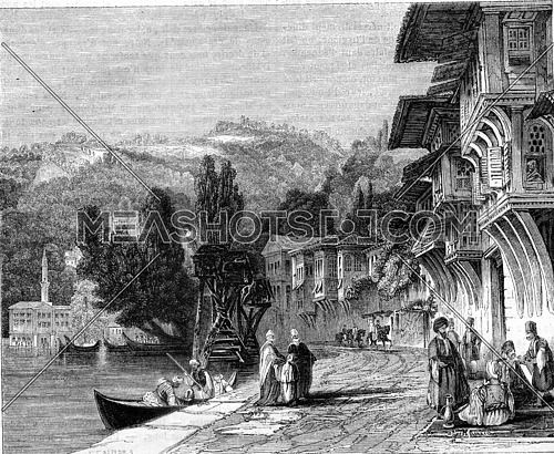 Village life of Baalbek, vintage engraved illustration. Magasin Pittoresque 1845.