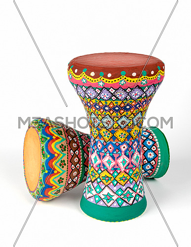 Colorful painted pottery goblet drums (chalice drum, darabuka, debuka, doumbek, dumbelek, tablah), goblet shaped percussion musical instrument