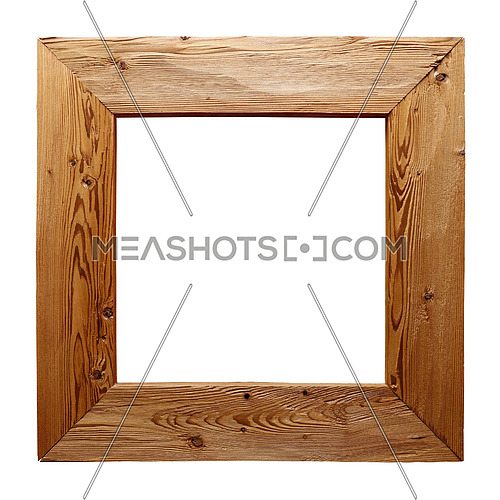 Rustic unpainted square wooden picture, window or mirror frame of brushed natural wood isolated on white background, close up