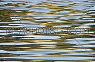 Colorful yellow and blue ripples and waves running on water surface, moving flow background, Full HD 1080