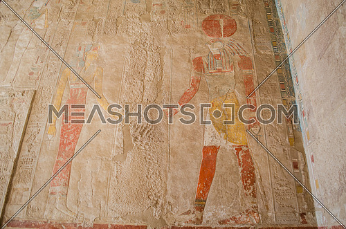 old pharaoh drawings and hieroglyphics writings of king and queen in colors