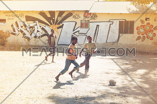 african kids playing  Football in Nungwi