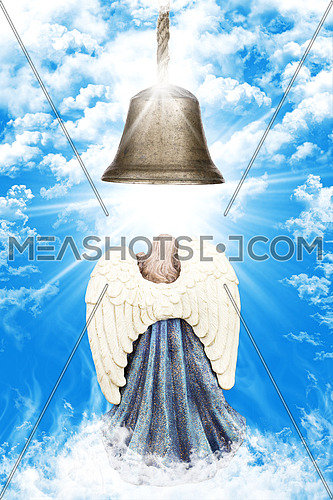 Angel With White Wings Standing Beneath A Church Bell In Heaven Surrounded By Clouds And Light