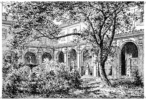 Mulberry Court, vintage engraved illustration. Paris - Auguste VITU – 1890.