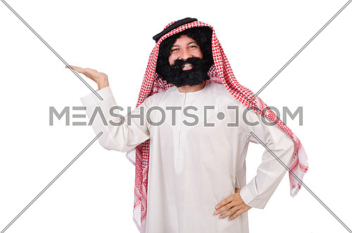 Funny arab man hoding hands  isolated on white