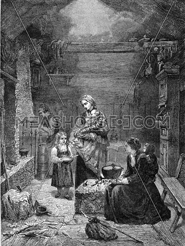 Interior of a Norwegian home, vintage engraved illustration. Magasin Pittoresque 1857.