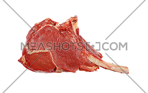 Close up one raw Tomahawk ribeye beef steak with rib bone isolated on white background, elevated top view, directly above