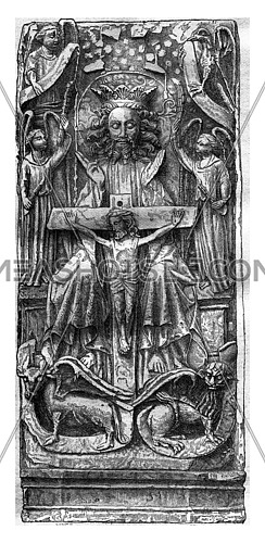 Bas-relief of the Saint-Ouen church in Pont-Audemer, vintage engraved illustration. Magasin Pittoresque 1878.