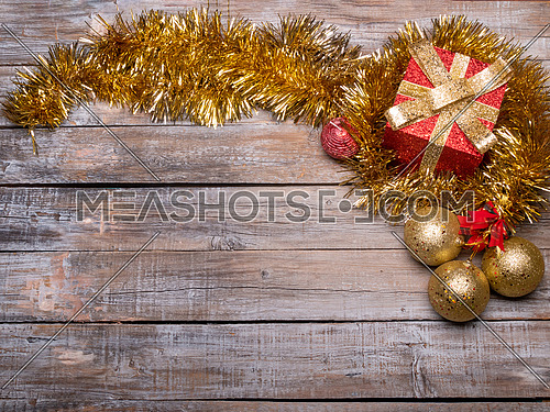 Holiday Christmas wood wallpaper.  Christmas ornaments background in top view flat lay, Christmas backdrop and artwork design