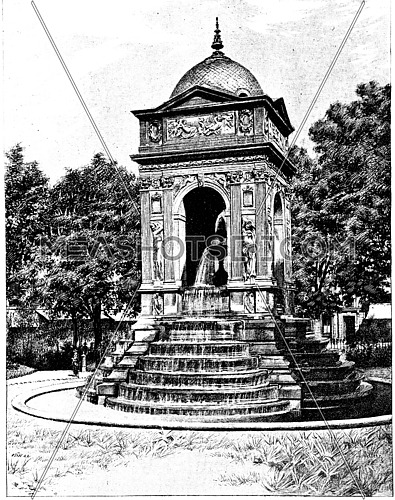 Fontaine des Innocents, vintage engraved illustration. Paris - Auguste VITU – 1890.