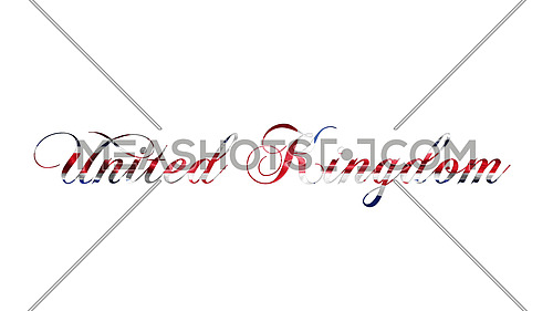 United Kingdom Text Written  On White Background 3D illustration