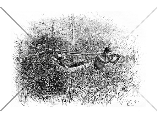 In the Swamp, in Angola, Southern Africa, drawing by Bayard based on a sketch by Serpa Pinto, vintage engraved illustration. Le Tour du Monde, Travel Journal, 1881