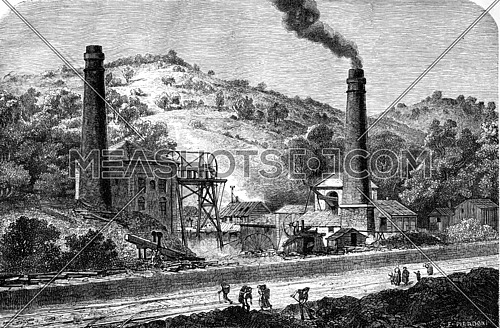 View of the coal pit Glyn, near Pontypool. vintage engraved illustration. Le Tour du Monde, Travel Journal, (1865).