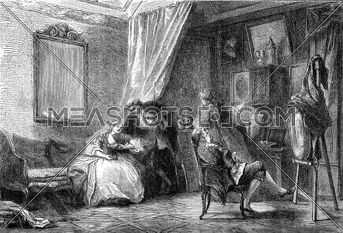 The portrait, workshop within the eighteenth century by Mrs. Armand Leleus, vintage engraved illustration. Magasin Pittoresque 1870.
