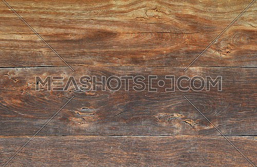 Old brown grunge vintage wooden panel texture background with horizontal unpainted aged planks, cracks and stains