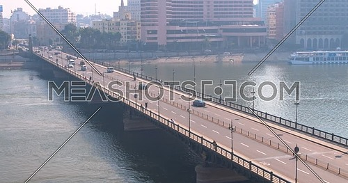 Reveal shot Drone for Kasr Al Nile Bridge in Cairo Downtown at early morning