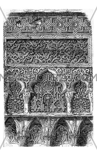 Fragments of sculptures at the Alhambra, vintage engraved illustration. Magasin Pittoresque 1857.