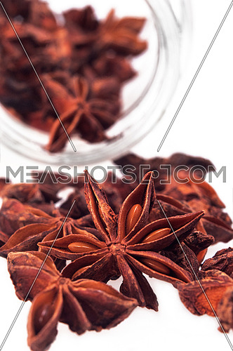 dried anise star spice illicium verum isolated on white