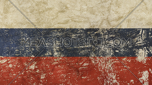 Old grunge vintage dirty faded shabby distressed Russia or Russian Federation national flag background
