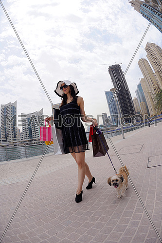 beautiful woman goes in shopping in the city