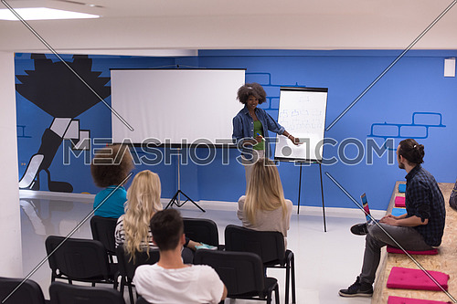 Young african american Speaker Seminar Corporate Business Meeting Concept