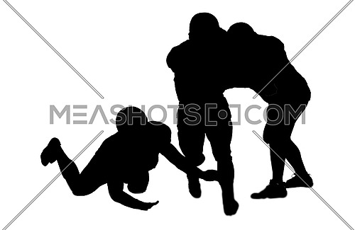 American football players in action isolated on white background