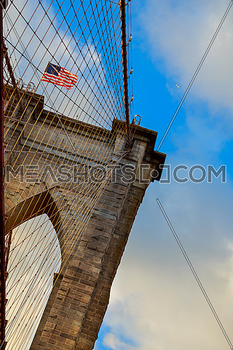 Powerful structure of Brooklyn Bridge Center Pylon on a beautiful summer day