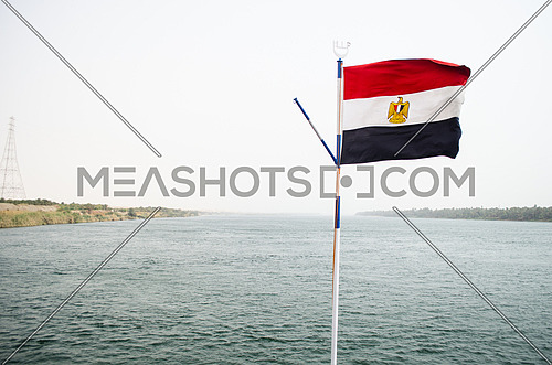 Egyptian Flag in front of sea water