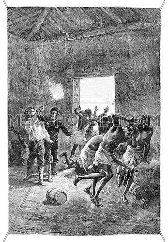 Major Serpa Pinto Fires a Gun at the Head of Duombo in Angola, Southern Africa, drawing by Bayard based on a sketch by Serpa Pinto, vintage engraved illustration. Le Tour du Monde, Travel Journal, 1881