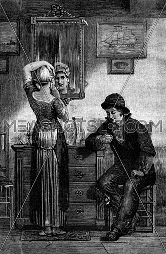 A Dutch interior. It relates to his sister a pair of earrings, vintage engraved illustration. Journal des Voyage, Travel Journal, (1880-81).