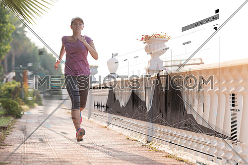 Fitness woman training and jogging in summer park