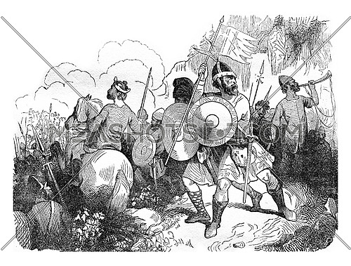 Saxon warriors in the eleventh century, vintage engraved illustration. Colorful History of England, 1837.