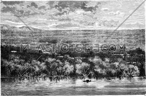 View of the Sierra de San Carlos, vintage engraved illustration. Le Tour du Monde, Travel Journal, (1865).