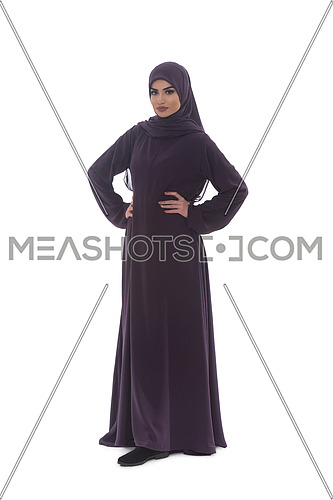 Fashion Portrait Of Young Beautiful Muslim Woman With Black Scarf Isolated On White Background