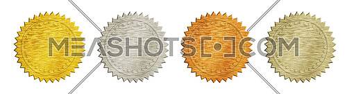 Close up brushed metal achievement and award badges (golden, silver, copper and bronze) isolated on white background