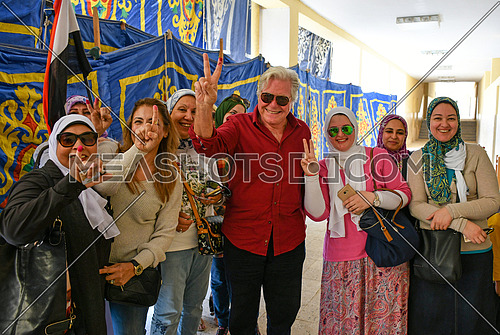 Artist Hussein Fahmy after casting a ballot in the Egyptian presidential elections in 6th of October City  26 March 2018