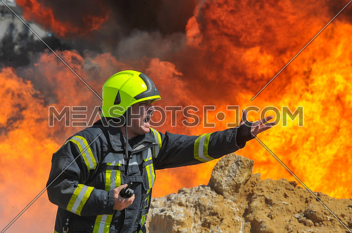 A fire fighter during safety operation in Cairo, Egypt, on April 15, 2017 during explosion in the area of New cairo, killing one person and wounding 17 people.
