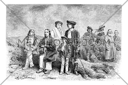 Diverse Population of Podhales of the Tatra Mountains and parts of the Beskids in Poland and Slovakia, drawing by G. Vuillier from a photograph, vintage engraved illustration. Le Tour du Monde, Travel Journal, 1881