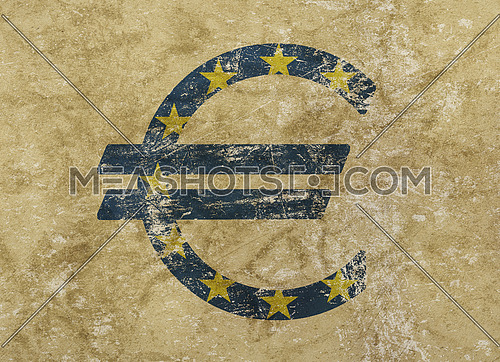 Euro icon sign with blue EU flag over distressed shabby grunge background