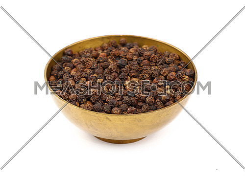 Close up one bronze metal bowl full of black pepper peppercorns isolated on white background, high angle view