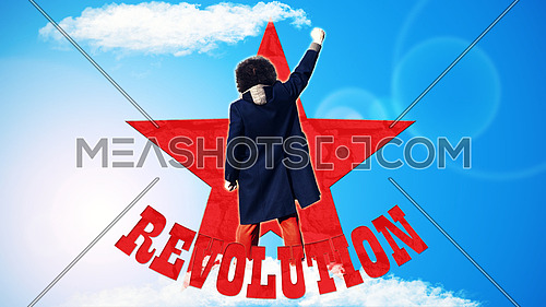 Man standing with fist pointed up on blue background with red star and text that spells Revolution