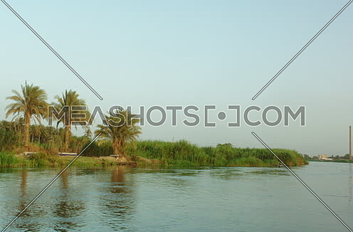 camera movement shot by the river nile and green islands