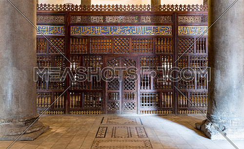 Interior view of mashrabiya screens around the cenotaph in the mausoleum of Sultan Qalawun, part of Sultan Qalawun Complex built in 1285 AD, located in Al Moez Street, Old Cairo, Egypt