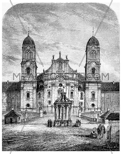 Our Lady of the Hermits (Einsiedeln, Switzerland), vintage engraved illustration. Magasin Pittoresque 1875.