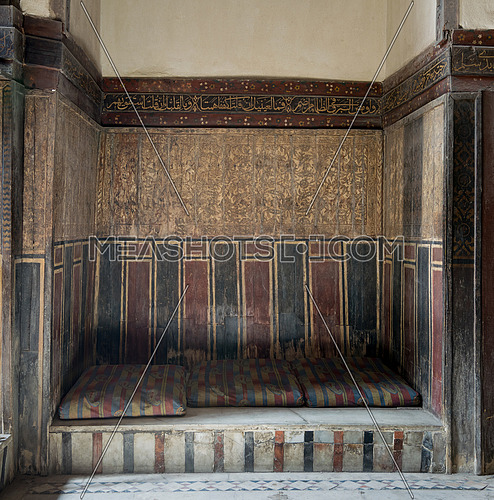 Built-in arabian bench (couch) at El Sehemy house, an old Ottoman era house in Cairo, Egypt, originally built in 1648