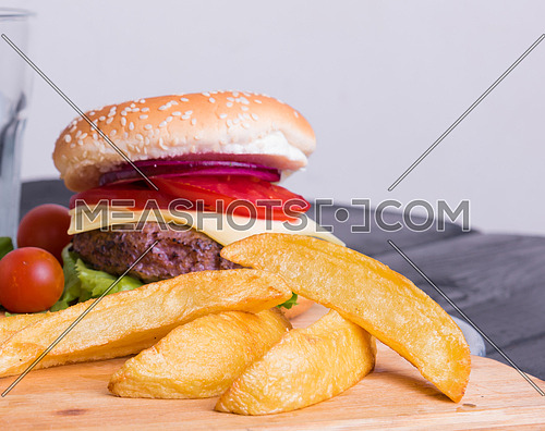 Yummy Burger with large french fries.
